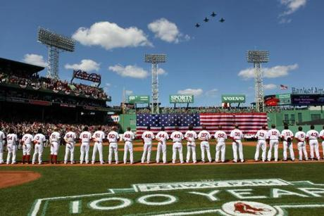 Jets flew over Fenway Park as part of the home opener ceremony.